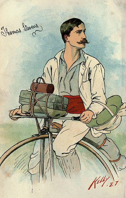 Stevens on his penny-farthing bicycle Thomas Stevens bicycle.jpg