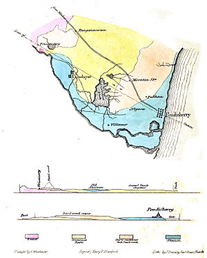 National Fossil Wood Park, Tiruvakkarai - Map of the region and cross section described by H. F. Blanford in 1858