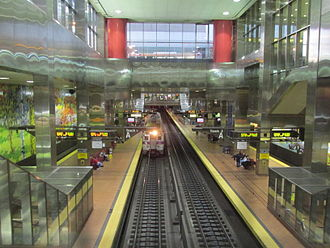 Center City Commuter Connection - Train emerging from the Center City Commuter Connection at the Jefferson (formerly Market East) Station