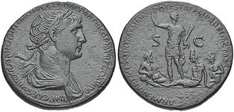 Roman–Parthian Wars - A sestertius issued by the Roman Senate in 116 to commemorate Trajan's Parthian campaign