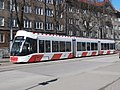 Tram 508 stopped at a Traffic light Junction of Maneezhi and Gonsiori Tallinn 24 March 2017.jpg