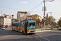 Tram in Sofia near Russian monument 058.jpg