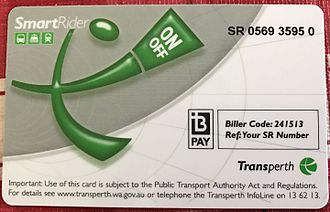 Transperth - SmartRider smart card.
