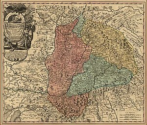 Unio Trium Nationum - The territories of the Three Nations represented on a map made by Johann Homann in the first decades of the 18th century
