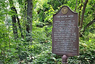 John André - Location where American General Arnold and British Major John André plotted the surrender of West Point. Located on the shore pathway south of Haverstraw, NY in the historic Dutchtown area,  41.1779, -73.9434. Today this is part of Hook Mountain State Park.