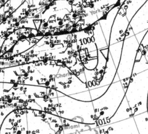 1923 Atlantic hurricane season - Image: Tropical Storm One analysis 28 Jun 1923