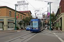 Tucson Sun Link streetcar at 5th & Congress (2014).jpg
