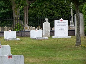 British Turks - Ottoman Turkish graves buried in a segregated part of Clayhall Road cemetery.