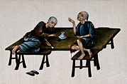 Two poor Chinese opium smokers. Gouache painting on rice-pap Wellcome V0019165