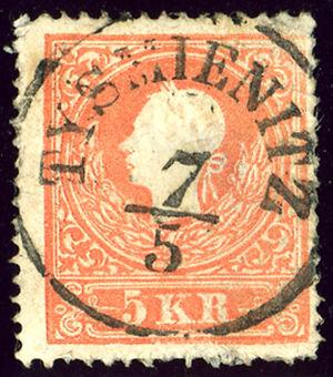 Tysmenytsia - Austrian KK stamp cancelled in 1859 TYSMIENITZ