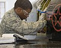 U.S. Air Force Airman 1st Class Xavier Lard, with the 364th Training Squadron, practices removing and installing hydraulic components on a T-38 Talon aircraft at Sheppard Air Force Base, Texas, Sept 110923-F-NF756-008.jpg