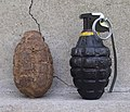 U.S. M10A3 Mk-2 A1 defensive hand grenade 1945 Lot World War II era Mk2 grenade in restoration recovered in Brazil RJ in 2013..JPG