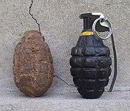 U.S. M10A3 Mk-2 A1 defensive hand grenade 1945 Lot World War II era Mk2 grenade in restoration recovered in Brazil RJ in 2013.