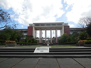 University of the Philippines Diliman - The Oblation Plaza showing the Oblation monument and the facade of Quezon Hall.