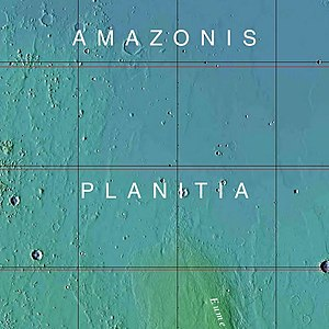 Amazonian (Mars) -  MOLA colorized relief map of Amazonis Planitia, the  type area for the Amazonian System. Amazonis Planitia is characterized by low rates of meteorite and asteroid impacts. Colors indicate elevation, with red highest, yellow intermediate, and green/blue lowest.