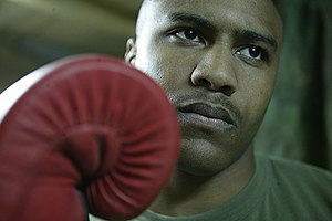 Amateur boxing - A Marine corporal active in USA Boxing (2005).