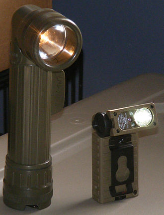 Flashlight - The angle-head flashlight on the left uses an incandescent bulb, while the adjustable angle-head flashlight on the right uses LEDs to give white, red, blue, and infrared light