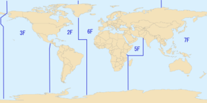 alt=Mercator projection map depicting the area of responsibilities of the various numbered fleet of the United States Navy as of the year 2007.