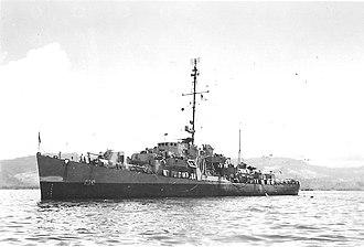 USS Chaffee (DE-230) - Image: USS Chaffee (DE 230) at anchor