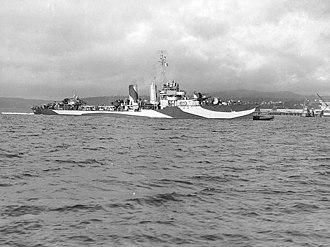 USS Farragut (DD-348) - Farragut in dazzle pattern camouflage, September 1944.