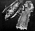 USS Hassayampa (AO-145) refueling USS Hancock (CVA-19) and USS McKean (DD-784) 1962.jpg