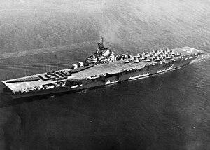 USS Leyte (CV-32) - Image: USS Leyte (CV 32) with F9Fs