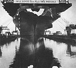 USS Randolph (CV-15) after her launch at Newport News Shipbuilding on 28 June 1944.jpg