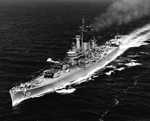 USS Salem underway in the Mediterranean Sea, 16 June 1952