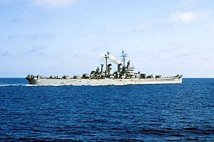 USS Worcester (CL-144) - USS Worcester underway in the Mediterranean Sea, 1953.