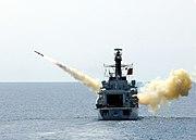 """US Navy 020612-N-9407M-518 British frigate HMS Richmond (F-239) launches an AGM-84A """"Harpoon"""" missile"""