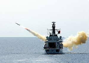 HMS Richmond (F239) - Richmond launching an AGM-84 Harpoon missile