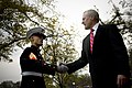 US Navy 091110-N-5549O-150 Secretary of the Navy the Honorable Ray Mabus wishes a Marine happy birthday following a wreath laying ceremony in honor of the 234th Marine Corps birthday.jpg