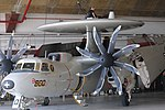 US Navy 100125-N-7456N-069 Petty Officer 1st Class Jason Edwards and Petty Officer 3rd Class Shah Mitesh conduct maintenance on the rotodome of an E-2C Hawkeye.jpg