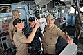 US Navy 100223-N-3289C-519 Vice Adm. Harry B. Harris Jr., commander of U.S. 6th Fleet, tours the bridge of the amphibious dock landing ship USS Gunston Hall.jpg