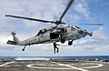 US Navy 100622-N-7058E-314 A naval aircrewman assigned to Helicopter Sea Combat Squadron (HSC) 22 is hoisted into an MH-60S Sea Hawk helicopter from the flight deck of the littoral combat ship USS Freedom (LCS 1).jpg