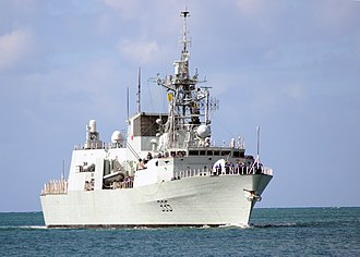 HMCS Calgary (FFH 335) - HMCS Calgary pulls into Joint Base Pearl Harbor-Hickam, Hawaii, to support Rim of the Pacific (RIMPAC) 2010 exercises.