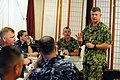 US Navy 100817-N-9818V-079 Master Chief Petty Officer of the Navy (MCPON) Rick West meets with command master chiefs for breakfast at the Silver Dolphin Bistro during his visit to Naval Station Pearl Harbor.jpg