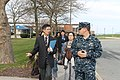 US Navy 111128-N-CQ687-002 Lt. Jeremy Sylvester, right, assigned to Officer Training Command, Newport, walks with Lt. j.g. Quynh Nguyen, a former S.jpg