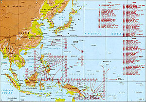 Map showing Allied landings in the Pacific, 1942–1945.