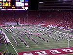 The UW Marching Band performs at halftime