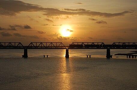 Sunset at Ullal Bridge Mangalore - Nethravathi River