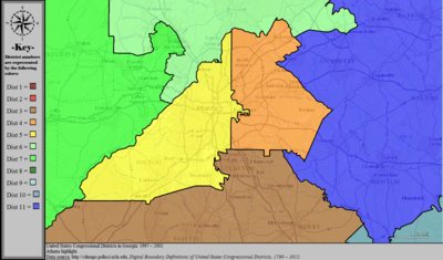 United States Congressional Districts in Georgia (metro highlight), 1997 – 2002.tif
