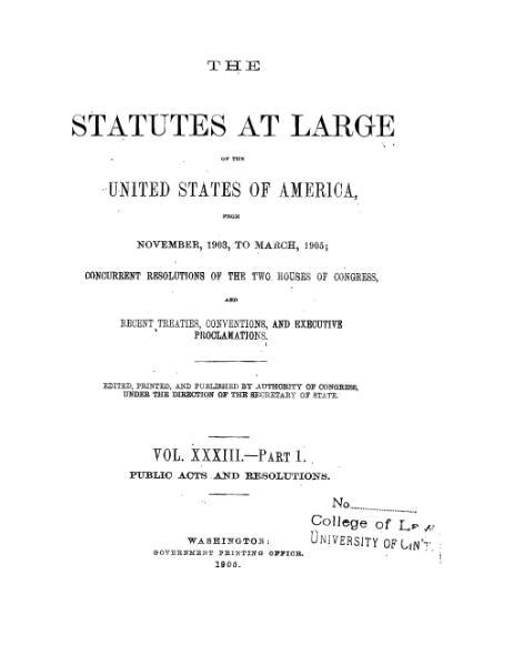 File:United States Statutes at Large Volume 33 Part 1.djvu