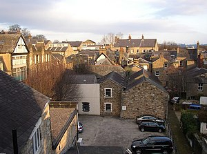 Infill - Urban infill, Lancaster, England. The small buildings in the centre stand on a former garden.