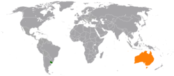Map indicating locations of Uruguay and Australia