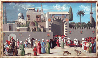 Portuguese–Mamluk naval war - Venetian embassy to the Mamluk Governor in Damascus in 1511, workshop of Giovanni Bellini.