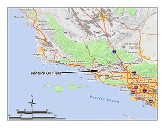 Ventura Oil Field - The Ventura Oil Field in Ventura County, California.  Other oil fields are shown in dark gray.