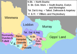 Victorian Legislative Council - VLC electoral districts, 1851–1854