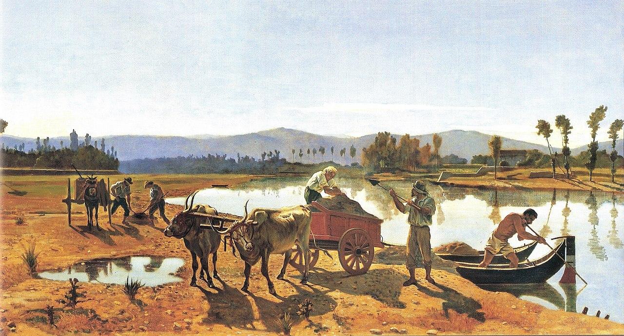 un carretto trainato da buoi sul letto del fiume degli operai caricano la sabbia