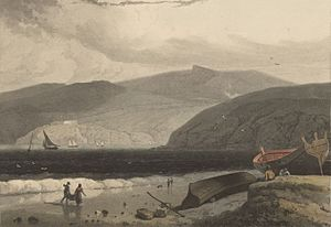 View of the entrance to Fishguard, from Goodwych sands
